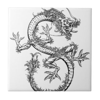 Chinese or Japanese Oriental Dragon Ceramic Tile