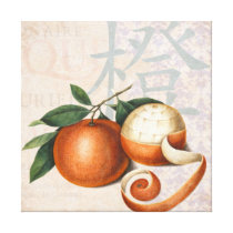 Chinese Oranges Elegant Vintage Collage Canvas Print