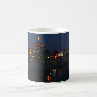 Chinese Pagoda and Houses Lit Up At Night Classic White Coffee Mug