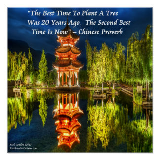 Chinese Pagoda And Nature Proverb Poster