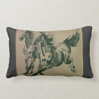 Chinese painting of 2 horses oblong pillow