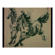Chinese painting of 2 horses poster