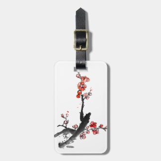 Chinese painting of flowers, plum blossom bag tag