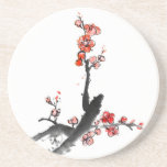 Chinese painting of flowers, plum blossom beverage coaster