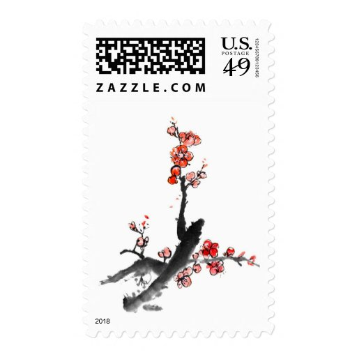 Chinese painting of flowers, plum blossom postage stamps