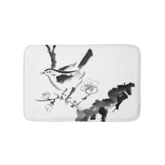 Chinese painting , plum blossom and bird bath mat