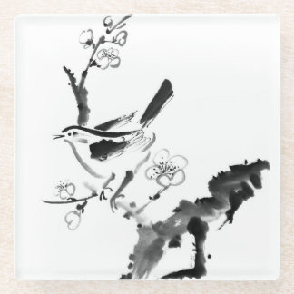 Chinese painting , plum blossom and bird glass coaster