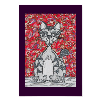 Chinese Paper Cat 1Print Poster