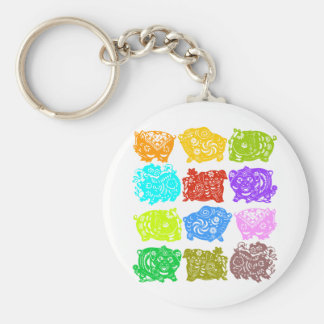 Chinese paper catting art : pigs collection keychain