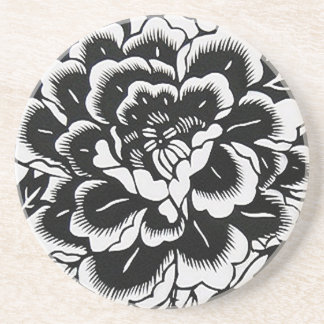 Chinese Paper-Cut Peony in Black Beverage Coaster