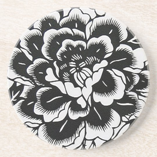 Chinese Paper-Cut Peony in Black Coaster