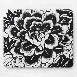 Chinese Paper-Cut Peony in Black Mouse Pad