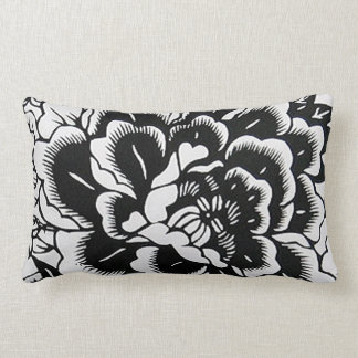 Chinese Paper-Cut Peony in Black – Pillow