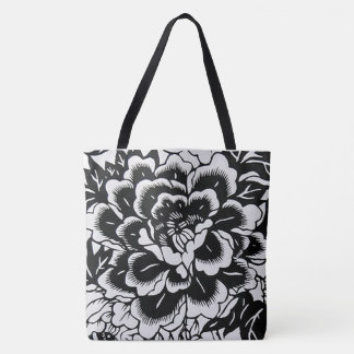 Chinese Paper-Cut Peony in Black Tote Bag