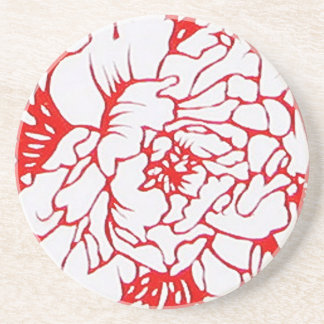 Chinese Paper-Cut Peony in Red Drink Coasters