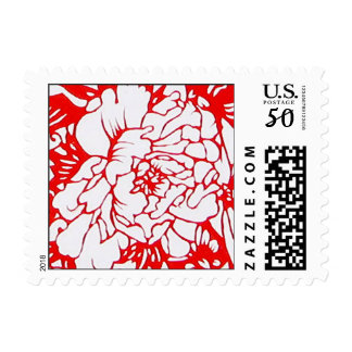Chinese Paper-Cut Peony in Red - Stamp