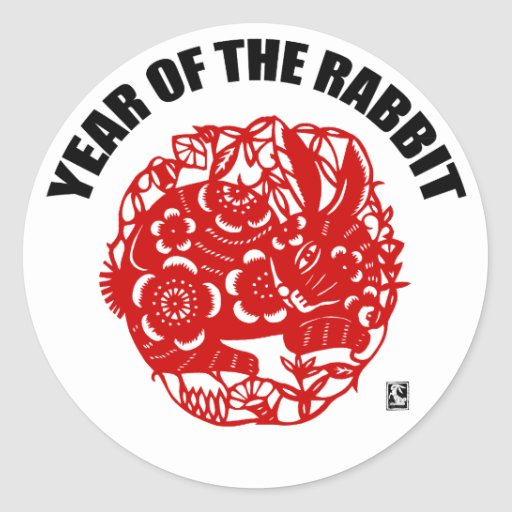 Chinese Paper Cut Year of The Rabbit Stickers