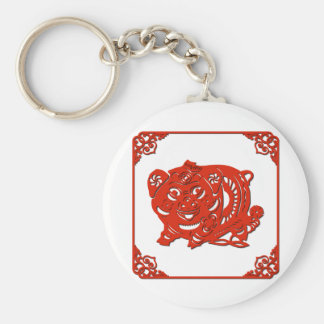 Chinese paper cutting art : pig (V1) Keychain