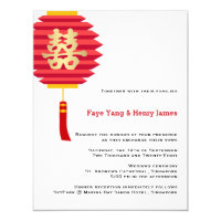 Chinese Paper Lantern and Double Happiness Wedding Invitation