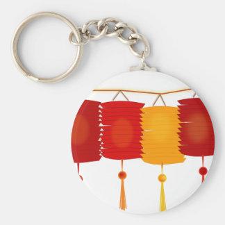 Chinese Paper Lanterns Basic Round Button Keychain