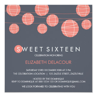 Chinese Paper Lanterns Sweet Sixteen Invitation