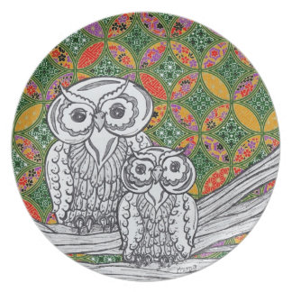 Chinese Paper Owls 3 Plate