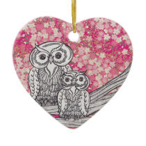 Chinese Paper Owls 4 Ceramic Ornament