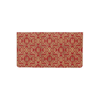 Chinese Pattern Double Happiness Symbol Checkbook Cover