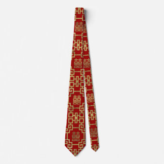 Chinese Pattern Double Happiness Symbol Neck Tie