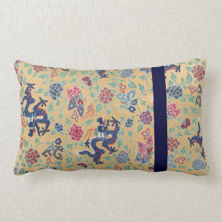 Chinese Pattern Yellow Dragon Flowers Qing Dynasty Lumbar Pillow