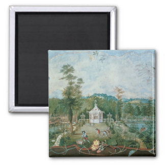 Chinese Pavilion in an English Garden, 18th centur 2 Inch Square Magnet