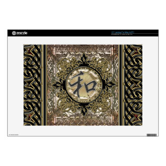 "Chinese Peace Symbol With Metallic Celtic Decor Skin For 15"" Laptop"