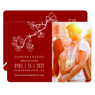 Chinese Peach Blossoms Wedding Photo Save The Date Card