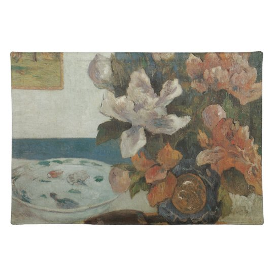 Chinese Peonies and Mandolin by Paul Gauguin Cloth Placemat