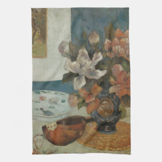 Chinese Peonies and Mandolin by Paul Gauguin Kitchen Towels