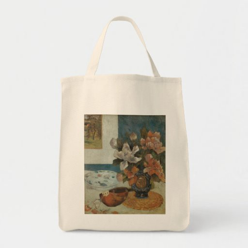 Chinese Peonies and Mandolin by Paul Gauguin Grocery Tote Bag