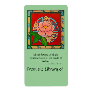 Chinese Peony Book Plate Custom Shipping Label