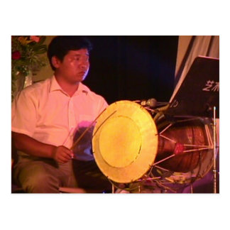 Chinese percussionist postcard