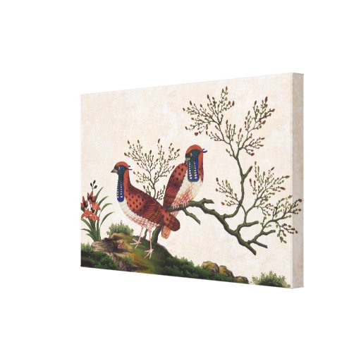 Chinese Pheasants Old Silk Painting Gallery Wrap Canvas