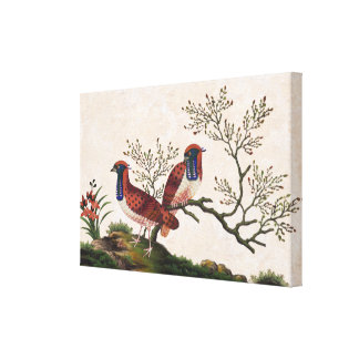 Chinese Pheasants Old Silk Painting Canvas Print