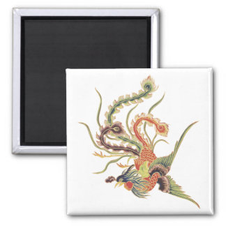 Chinese Phoenix - Fenghuang  Mythological Birds Ar 2 Inch Square Magnet