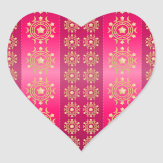 Chinese Pink and Gold Heart Sticker