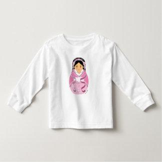 Chinese Pink Girl Matryoshka Toddler Long Sleeve Tshirt