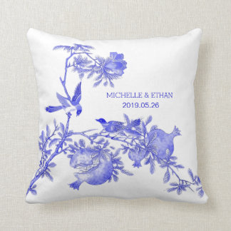 Chinese Porcelain Blue Love Birds Personalized Throw Pillow
