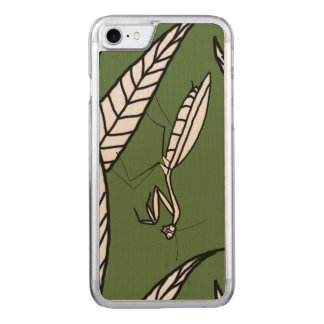 Chinese Praying Mantis On Leaves Over Green Carved iPhone 8/7 Case
