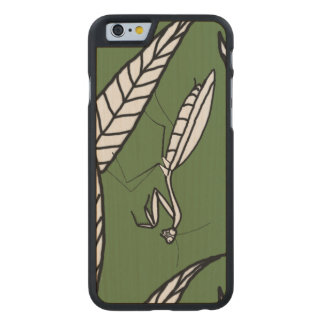Chinese Praying Mantis On Leaves Over Green Carved® Maple iPhone 6 Slim Case