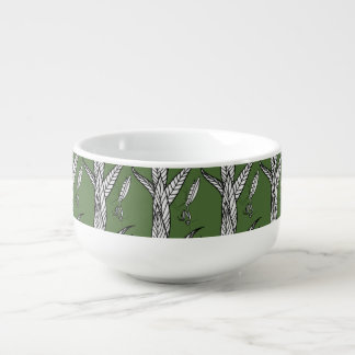 Chinese Praying Mantises On Leaves, On Green Soup Bowl With Handle