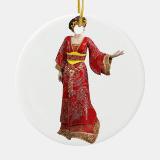 Chinese Princess in Red Ceramic Ornament