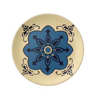 Chinese Prosperous Eight Petal Flower in Blue Porcelain Plates