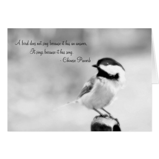 Chinese proverb Chickadee Greeting Card